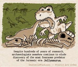 jelly dinosaur eating brontosaurus on a pile of bones