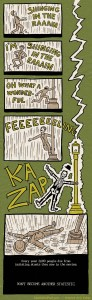 singing in the rain comic showing man dancing in the rain, twirling around lamppost and being struck by lightning