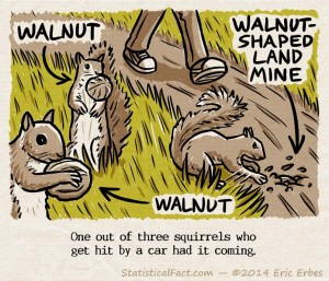 evil squirrel burying a walnut-shaped land mine in front of a hiker