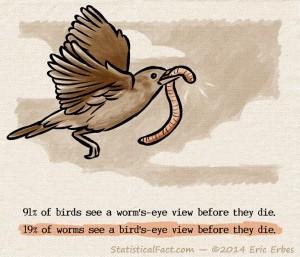 bird in flight holding a worm in it's beak