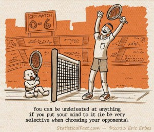 tennis baby in a one-sided tennis match against adult