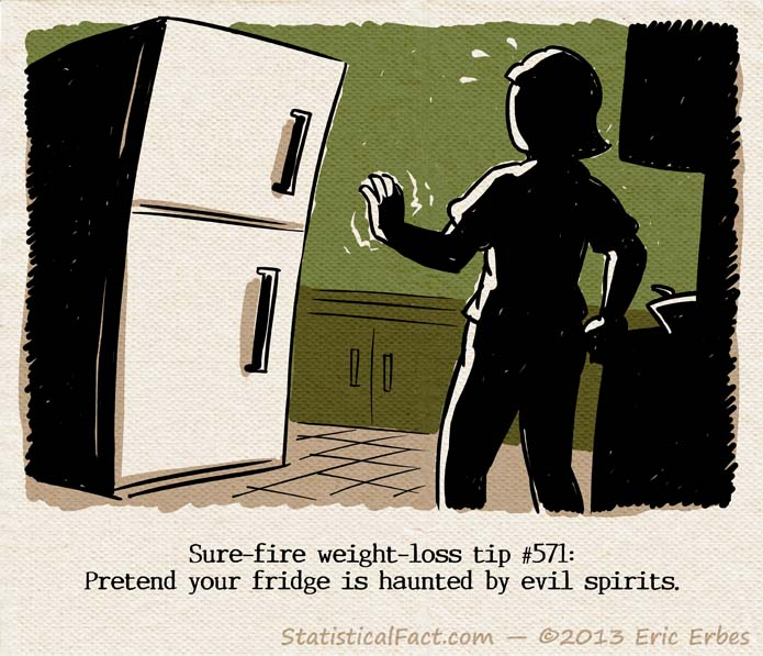 lady quivering in front of fridge