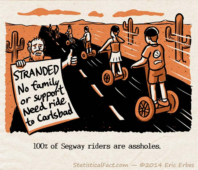 """Disheveled hitchhiker holds a sign that reads """"Stranded, no family or support, need ride to Carlsbad"""". Meanwhile six people riding Segways zoom past the sad soul on the shoulder."""