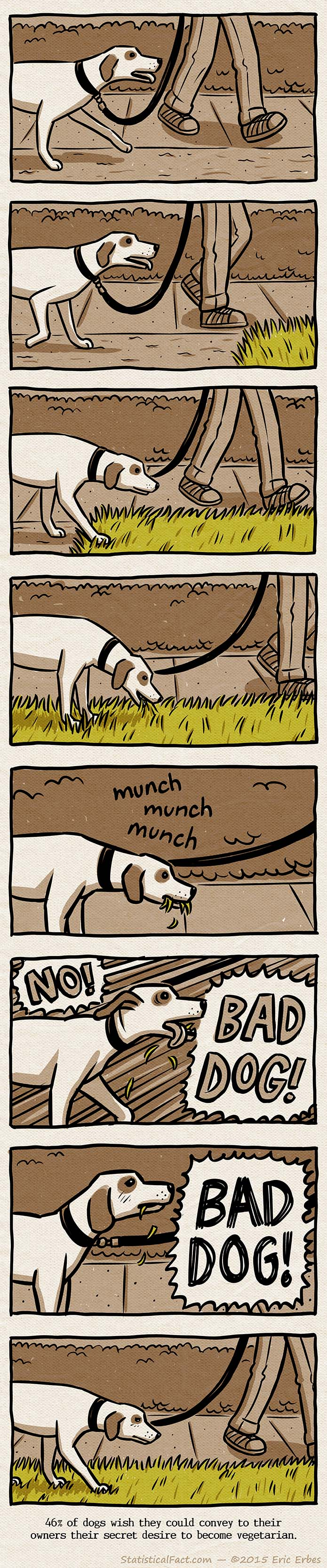 Dog on a leash is walking down the sidewalk, encounters patch of grass, starts to eat grass and gets scolded by his owner
