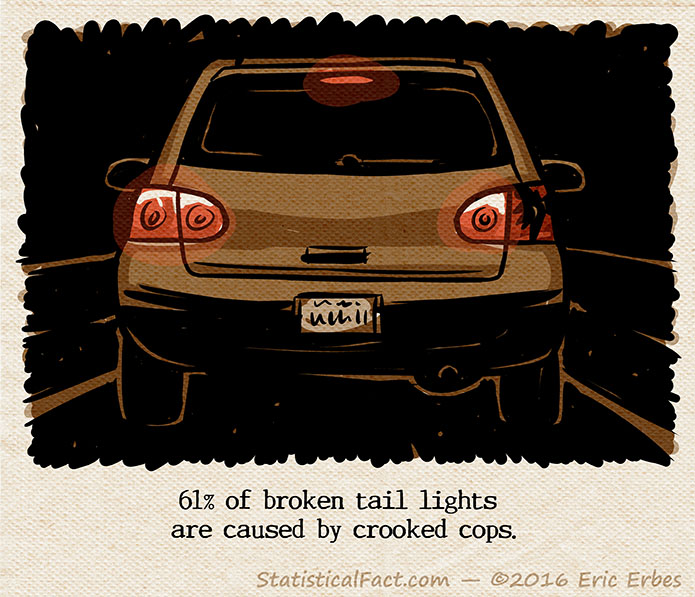 rear view of a car with a broken right tail light