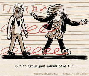 cheerful young woman twirls and dances down the street while another woman watches with a smirk on her face